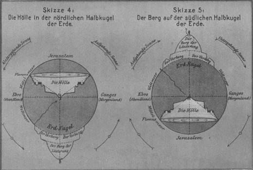 An illustration of Dante's layout of the Divine Comedy's geography by Albert Ritter