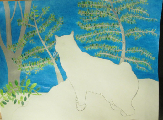 The color of the cerulean blue sky has been achieved with time consuming pencil work.
