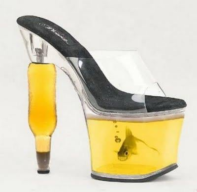 I'm not totally sure if these shoes are suppose to be a fish tank or a container for beer.