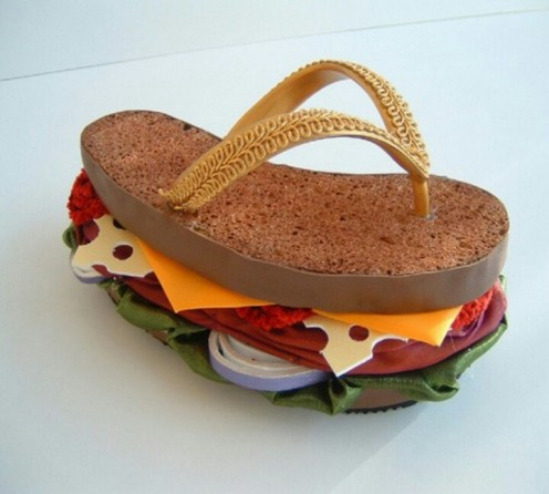 You don't ever have to worry about getting hungry when you are wearing these flip flops. I guess somebody already ate the other one.