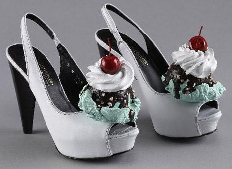When you get finished eating those sandwich shoes, you can have your dessert shoes.