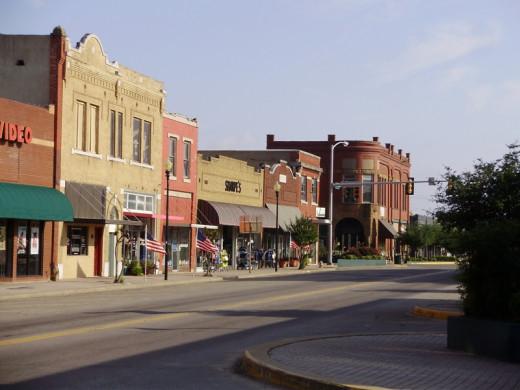 Small town Eufaula, OK Main Street