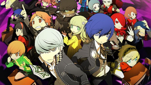 The cast of Persona 3 and Persona 4 in Persona Q.
