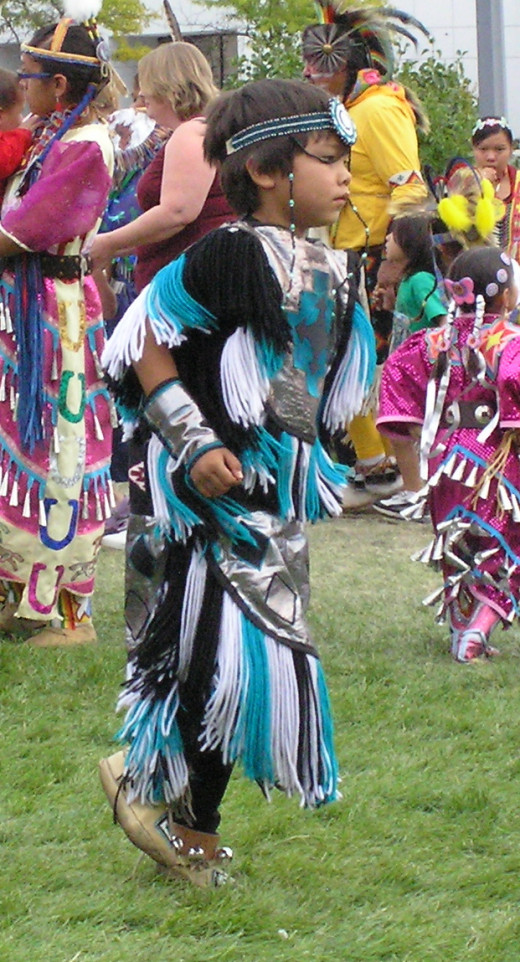 A boy in Grass Dance regalia, Spokane, WA, 2007