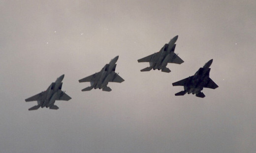 A flight of F-15 Eagles over the Washington Mall.  F-15s accounted for all but 2 of the fixed wing air-air kills during Operation Desert Storm.  No F-15s were lost to enemy aircraft.