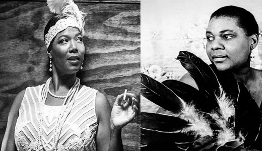 Left: Queen Latifah as Bessie, Right: the real Bessie