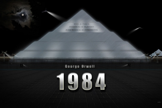 The Ministry of Truth is described by Orwell as being in an imposing pyramid inscribed with the slogan of the Inner Party: WAR IS PEACE, FREEDOM IS SLAVERY, IGNORANCE IS STRENGTH.
