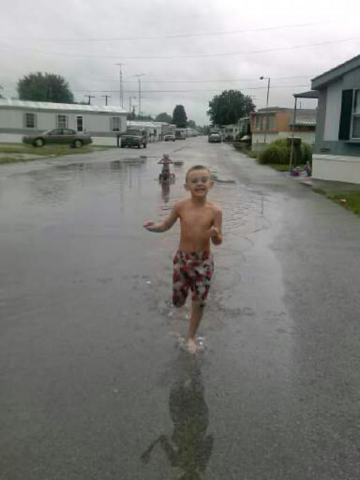 my son running-always so energetic =)