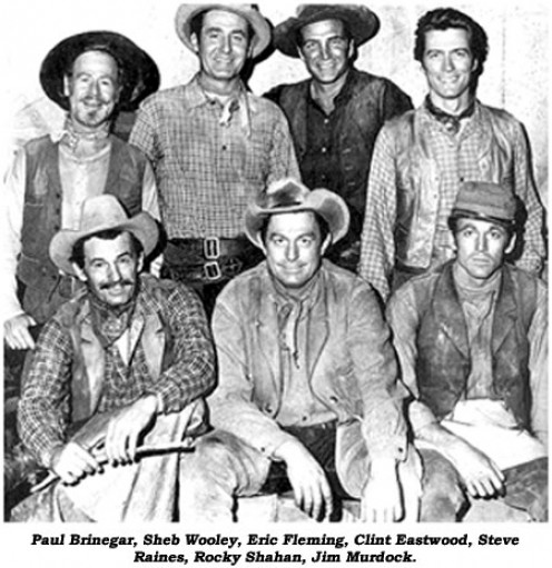 "The central cast of ""Rawhide."""