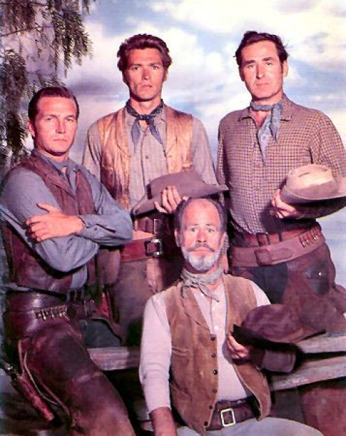 (From left), Eric Fleming, Clint Eastwood, Sheb Wooley, and Paul Brinegar.