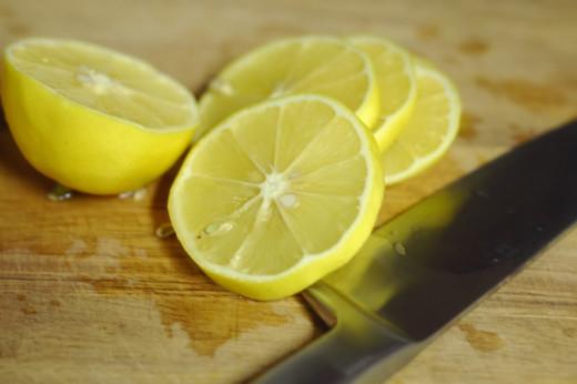Slice the lemons.