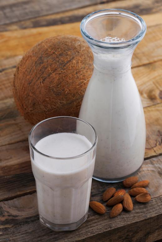 Add 4 almonds to coconut milk.
