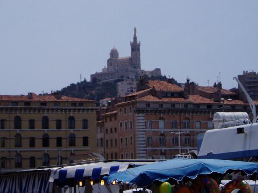 View of Notre Dame de la Garde from Le Vieux Port