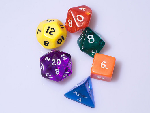 Typical set of dice for playing Dungeons & Dragons