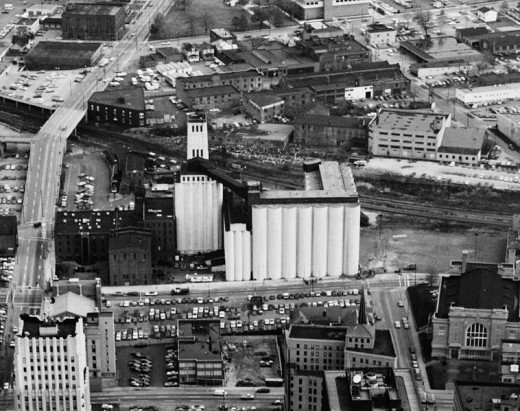 Silos became a hotel. Akron factory of the Quaker Oats Company, located at 120 E. Mill Street in Akron, Ohio,