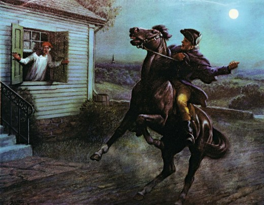 Depiction of Paul Revere on his ride to warn the Boston area on April 18, 1775.