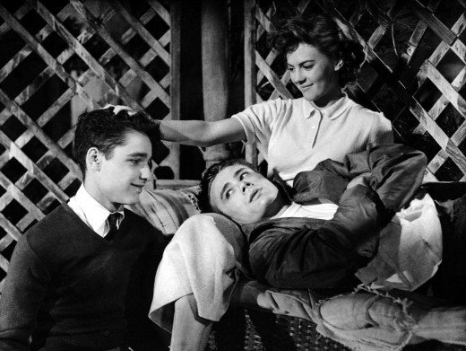 "Sal Mineo, at left, playing the character of John ""Plato"" Crawford, fell in love with Dean both on and offscreen."