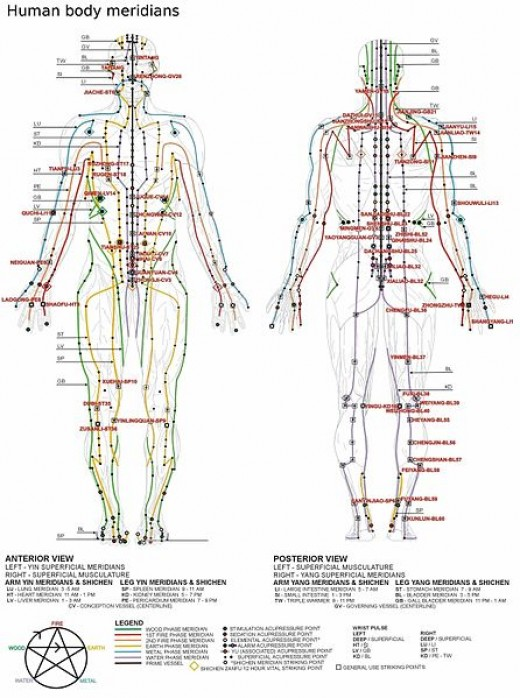 This chart shows the many points that may be used in Chinese acupuncture. Primarily those in the hands and arm or feet and leg are used initially..