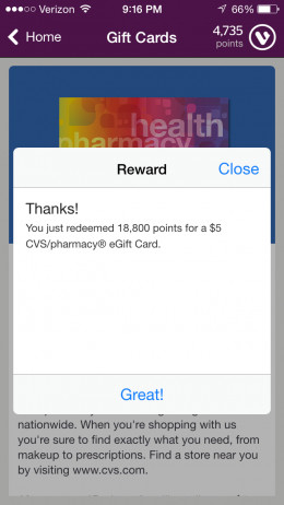 Message received when you successfully redeem points for a gift card.