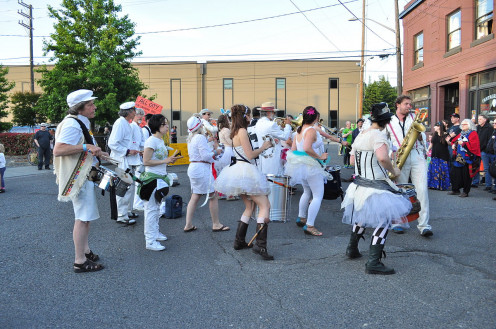 The Carnival Band at an annual Honk Fest gathering.