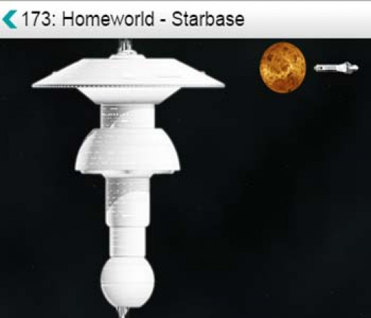 Homeworld starbase, with planet and freighter shown in background.