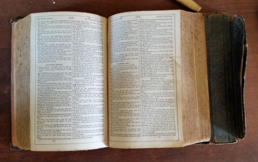 This pocket Bible was displayed at the Bryant house museum in Lexington, Kentucky. It's probably from the Civil War era and was carried by a soldier during the war.