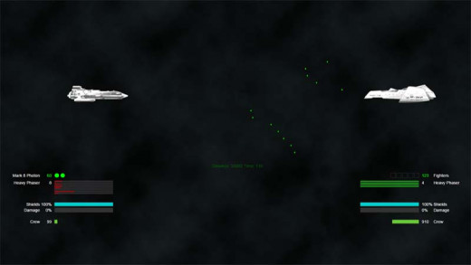 The ship on the left has fired beam weapons at the opponent's fighters, which are launching to attack the left player's ship, which will fire energy torpedoes when it gets in range.
