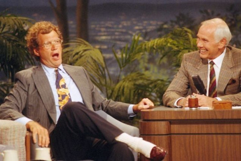 "Dave being interviwed by ""The King of Late Night,"" Johnny Carson."