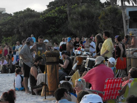 Preparing for the Drum Circle at Siesta Key
