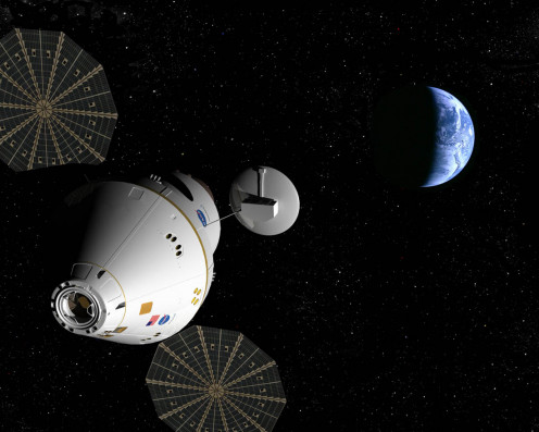 The Orion Spacecraft on its way to the Moon.