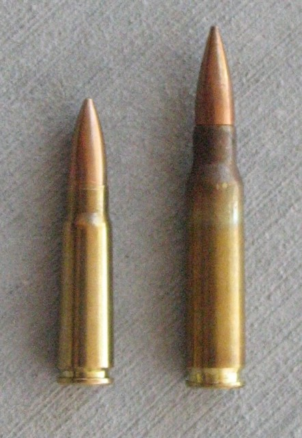 7.62x39mmR (left) and 7.62x51mm NATO (right)