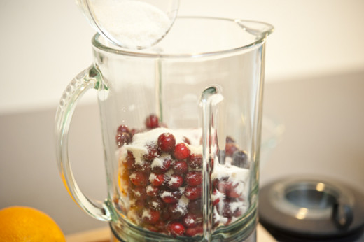 Blend cranberry juice with powdered sugar in a mixer/blender.