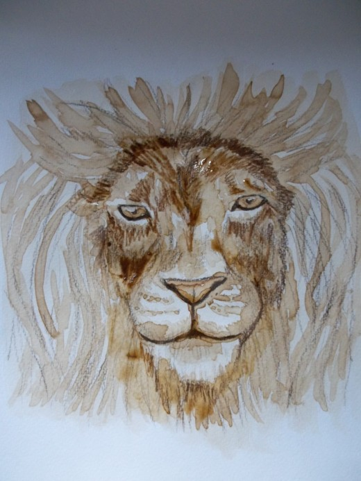 The lion with more colored pencil work and another layer of coffee around the face.