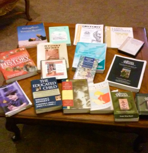 Some of the many home school resources and classical curricula that we have used over the years.