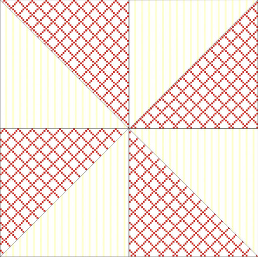 This simple pinwheel quilt block design is made of four half-square triangle sets grouped to depict motion. Print out this block for a 9-inch block pattern (seam allowance included)