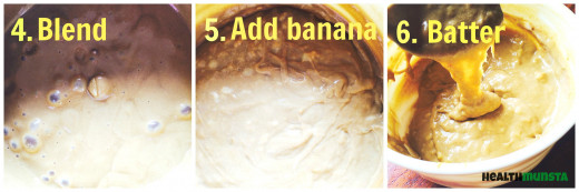 Blend the mixture before adding your mashed bananas. Stir until you get the desired consistency  of batter
