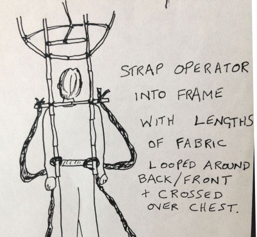 Strapping the puppeteer into the frame
