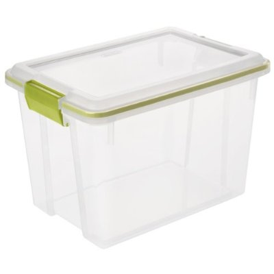 Clear bins are better.  Remember, if it cannot be seen, it cannot be found.