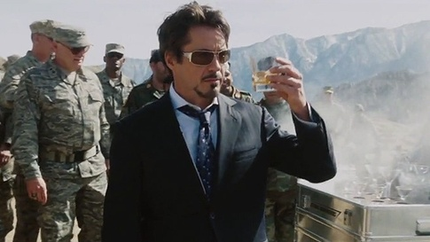 "Robert Downey, Jr. as ""Tony Stark/Iron Man"" enjoys drinking."