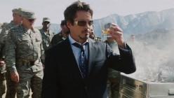 "Robert Downey, Jr. as ""Tony Stark/Iron Man"" enjoys drinking."