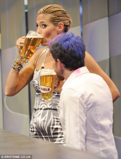 Super model, Heidi Clum is proud of her ability to down a lot of beer.
