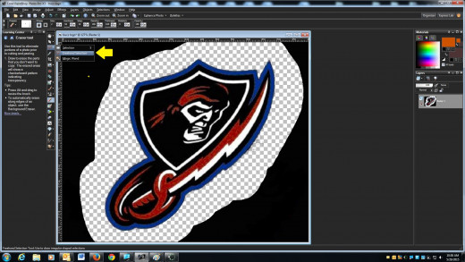 Now that we have the edges of the logo cleaned out we will then select freehand selection and edge seeker.