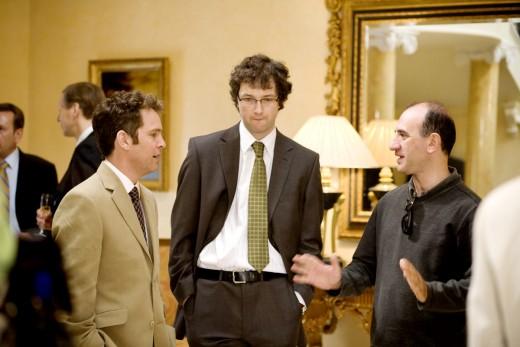 Tom Hollander (left) and Chris Addison respond to director Armando Iannucci (right)