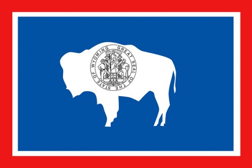 The sacred White Bison appears on the Wyoming State Flag.