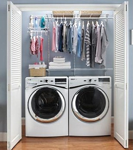 I mini- laundry cabinet can be installed in a laundry space freeing up area for other purposes. These cabinets can be installed in other parts of the hose as well