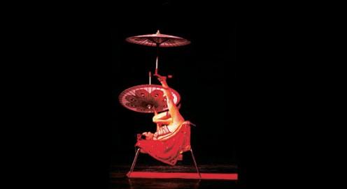 1990 Lifang Wang performs foot juggling. Photo: Jean-François Leblanc