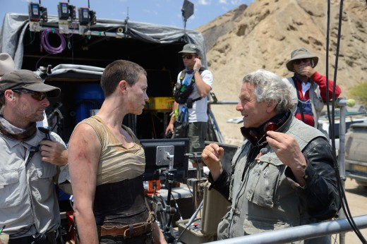 Right: Writer/Director and original franchise helmer George Miller sets the scene with Charlize Theron
