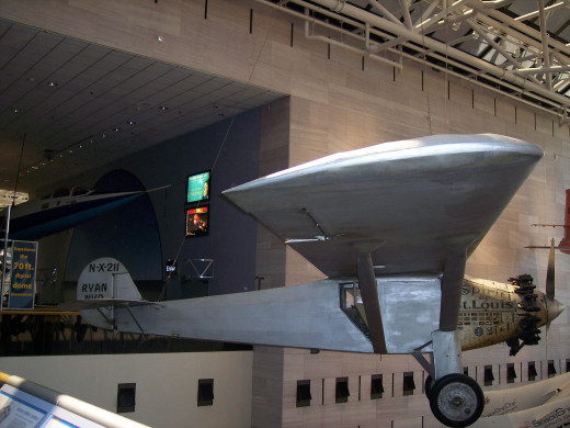 Charles Lindbergh flew the Spirit of St. Louis from New York to Paris in 1927. The plane is on display at the National Air and Space Museum.