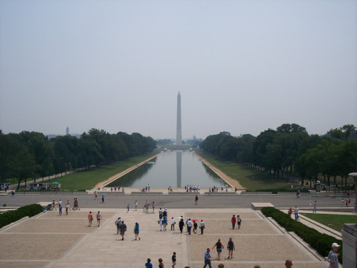 The view of the Washington Monument from the steps of the Lincoln Memorial.