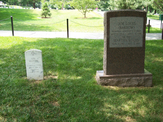 The grave sites of Lee Marvin and Joe Louis at Arlington National Cemetery.